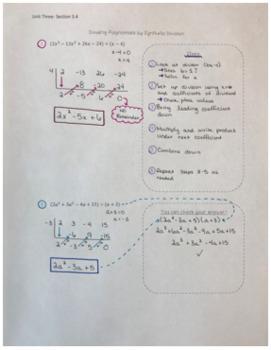 Dividing Polynomials using Synthetic Division Notes and Worksheet