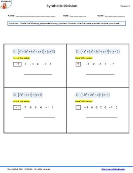 Dividing Polynomials using Synthetic Division Worksheet by ...