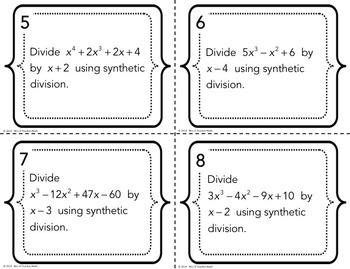 Dividing Polynomials Task Cards