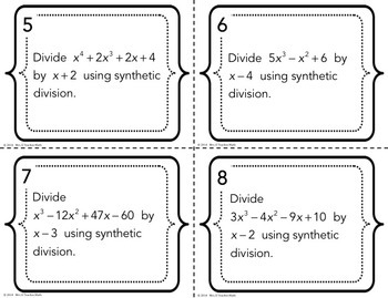 Polynomial Division Task Cards