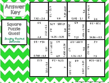 Dividing Positive Decimals - Square Puzzle Quest