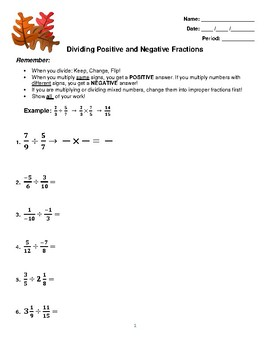 Positive and negative numbers worksheet teaching resources dividing positive and negative numbers worksheet dividing positive and negative numbers worksheet ibookread PDF