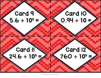 Dividing Powers of Ten Task Cards - CCSS Math 5.NBT.A.2