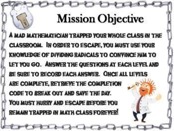Dividing Radicals Game: Algebra Escape Room Math Activity