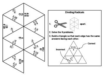 Dividing Radicals Game: Math Tarsia Puzzle