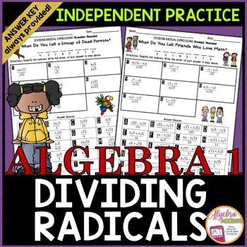 Rationalizing the Denominator: Dividing Radicals Worksheet with Riddles