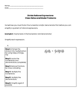 Dividing Rational Expressions Guided Notes (polynomials)