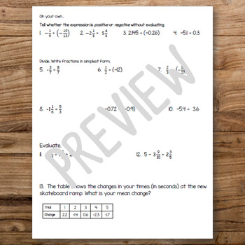 Dividing Rational Numbers Guided Notes and Practice