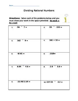 Dividing Rational Numbers 7.NS.2