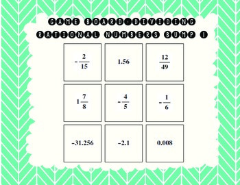 Dividing Rational Numbers Bump Board Games (7th Grade Fractions and Decimals)