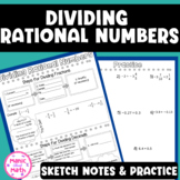 Dividing Rational Numbers Sketch Notes and Practice Sheet