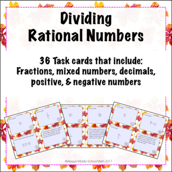 Dividing Rational Numbers Task Cards (Scoot!)