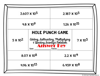 Operations with Scientific Notation Hole Punch Game