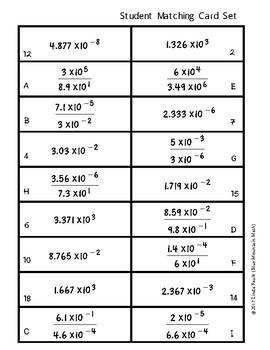 Dividing Scientific Notation Matching Card Set