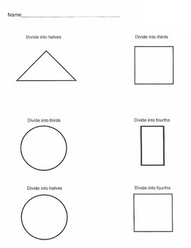 Dividing Shapes into Fractions:   Halves, Thirds, & Fourths