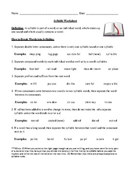 Dividing Syllables: Definition, Rules, Review Worksheet, Hints, and Answer  Key