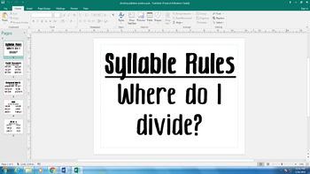 Dividing Syllables Rules Poster