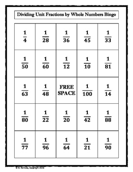 Dividing Unit Fraction by Whole Number Bingo (30 pre-made cards)