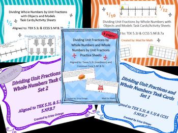 NEW VALUE PACK Dividing Unit Fractions Task Cards & Sheets