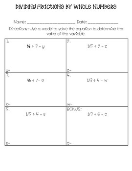 Dividing Unit Fractions by Whole Numbers Worksheets