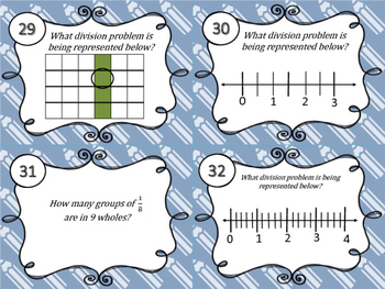 Dividing Unit Fractions&Whole Numbers Task Cards Set2 5.3L & 5.3J & CCS 5.NF.B.7