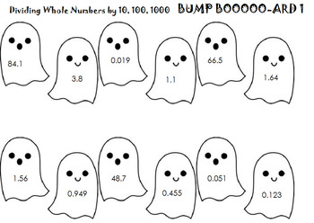 Dividing Whole Numbers By Powers of Ten (A ghost, 2 games, and a worksheet)