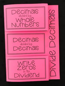 Dividing Whole Numbers & Decimals (Foldable)