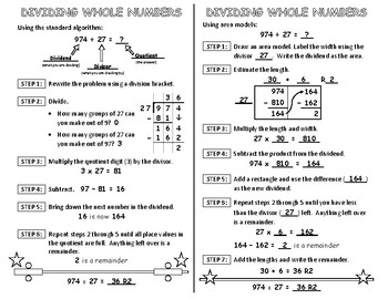 Dividing Whole Numbers Interactive Notebook Page
