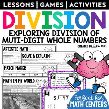 Dividing Whole Numbers Math Test Prep Task Cards