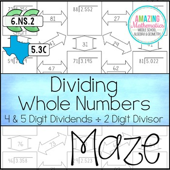 Dividing Whole Numbers Maze