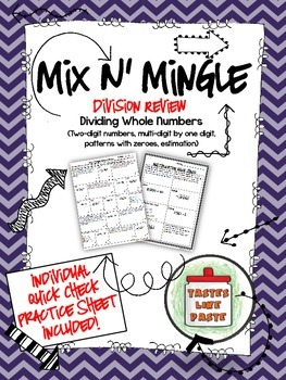 Dividing Whole Numbers: Mix n' Mingle Review *Individual Worksheet Included*