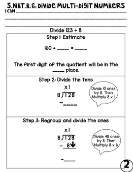 5.nbt.b.6 Division with Multi-Digit Numbers Student Guided Notes