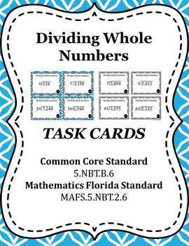 Dividing Whole Numbers Task Cards / Scoot Cards - 5.NBT.B.6