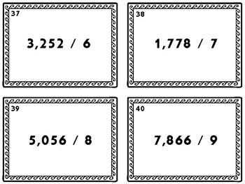 Dividing Whole Numbers-Task Cards