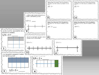 BUNDLE! Dividing Whole Numbers & Unit Fractions Task Cards 5.3J, 5.NF.B.7b