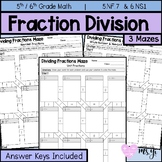 Dividing Whole Numbers & Fractions Maze Practice