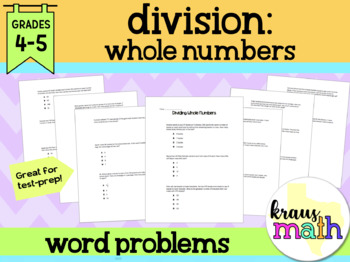 Dividing Whole Numbers Word Problems (Grade 4)