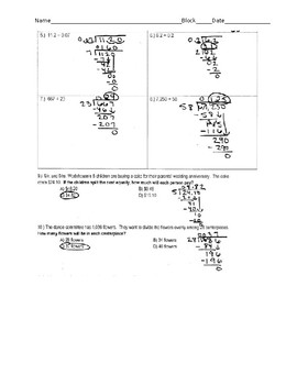 Dividing Whole Numbers and Decimals: Quiz/Reflection/Answers