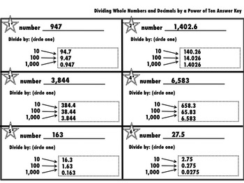 Dividing Whole Numbers and Decimals by a Power of 10