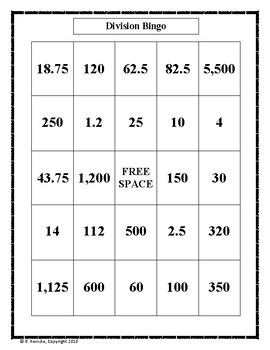 Dividing Whole Numbers by Decimals Bingo (30 pre-made cards!)