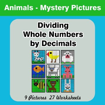 Dividing Whole Numbers by Decimals - Math Mystery Pictures - Animals