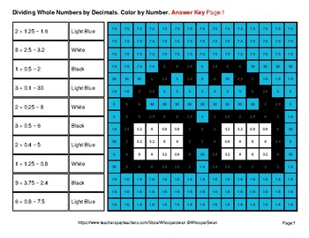 Dividing Whole Numbers by Decimals - Math Mystery Pictures - Hipsters