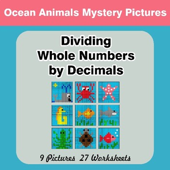 Dividing Whole Numbers by Decimals - Math Mystery Pictures - Ocean Animals