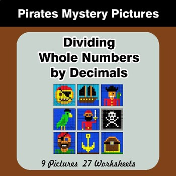 Dividing Whole Numbers by Decimals - Math Mystery Pictures - Pirates