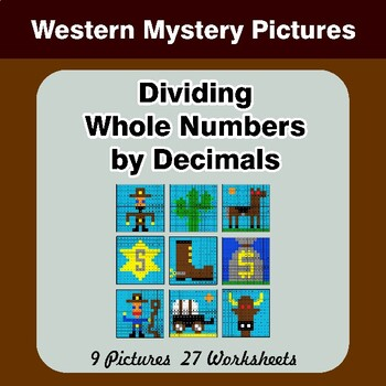 Dividing Whole Numbers by Decimals - Math Mystery Pictures - Western
