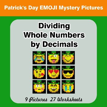 Dividing Whole Numbers by Decimals - St. Patrick's Day Emoji Mystery Pictures