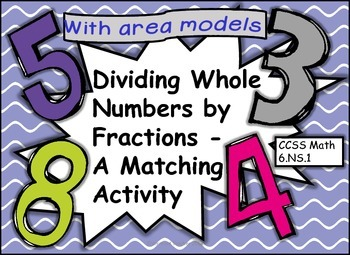 6.NS.A.1 Dividing Whole Numbers by Fractions Matching Activity with Area Models