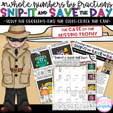 Dividing Whole Numbers by Fractions-Snip-It & Save-Case of the Missing Trophy