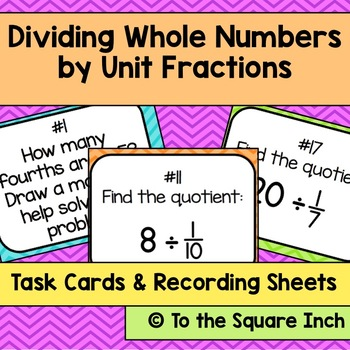 Dividing Whole Numbers by Unit Fractions Task Cards