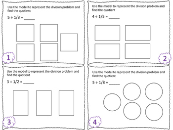 Dividing Whole Numbers by Unit Fractions Task Cards TEK 5.3J & CCSS 5.NF.B.7a